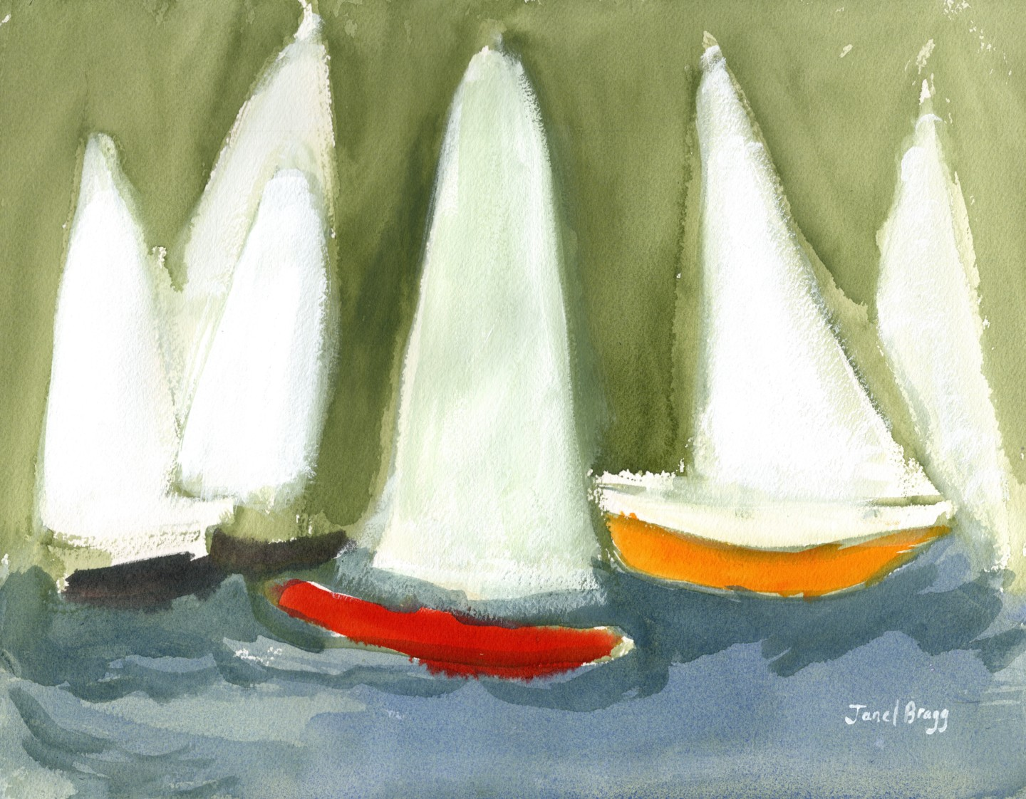 Janel Bragg - Sailboats in the Puget Sound