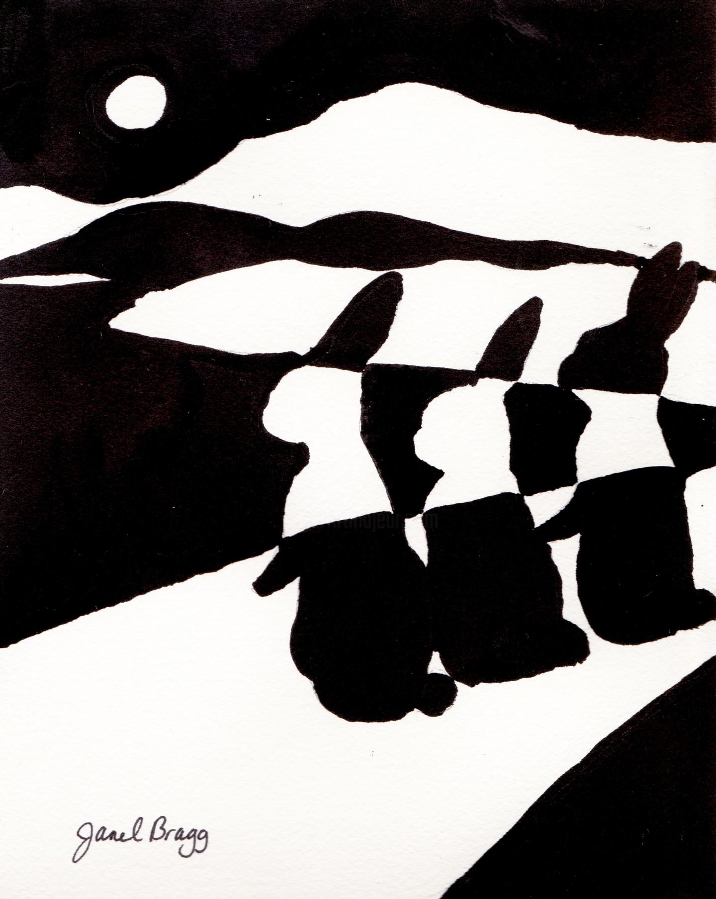 Janel Bragg - Rabbits at Night on Winding Road