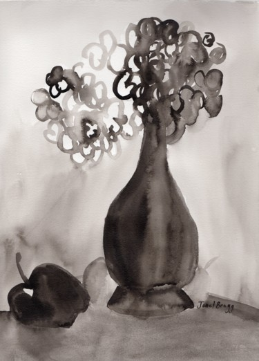 Still Life with Hydrangeas and Apple in Ink