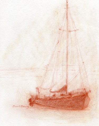 Sailboat in Anacortes Harbor in Pencil