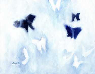 Blue and White Butterfly Composition