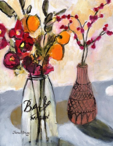 Still Life with Mason Jar and Flowers