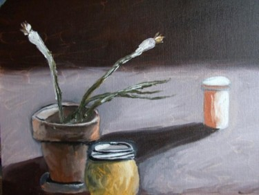 Still Life with Green Onions and Prescription Bottle