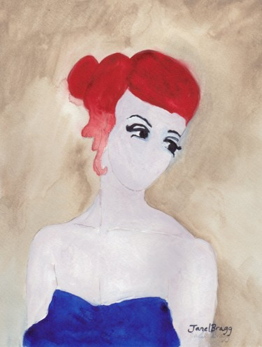 Woman with Red Hair and Blue Dress